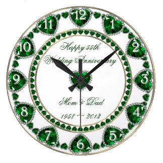 第55結婚記念日の時計 ラージ壁時計