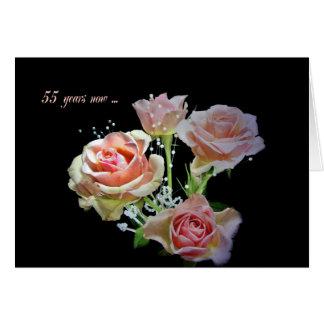第55記念日のばら色の花束 カード