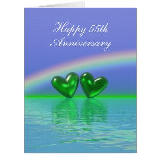 第55記念日のエメラルドのハート カード