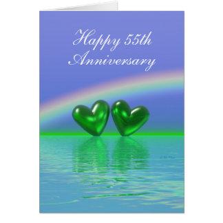 第55記念日のエメラルドのハート(高い) カード