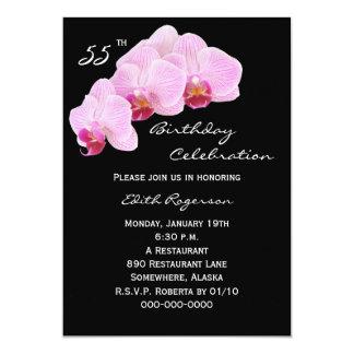 第55誕生日のパーティの招待状の蘭 カード