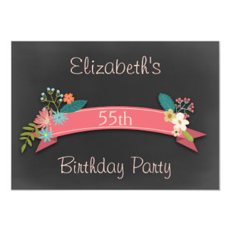 第55誕生日のピンクの旗によっては黒板が開花します カード
