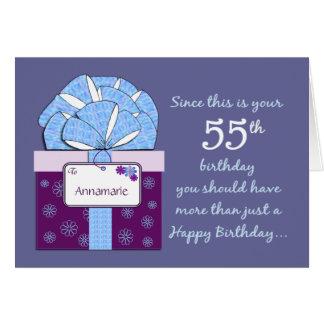 第55誕生日プレゼントのカスタマイズ可能なカード カード