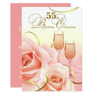第55誕生祝いのカスタムの招待状 カード