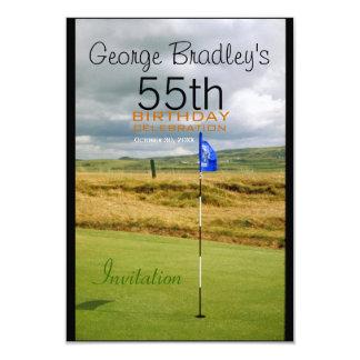 第55誕生祝いのゴルフカスタマイズ可能な招待 カード