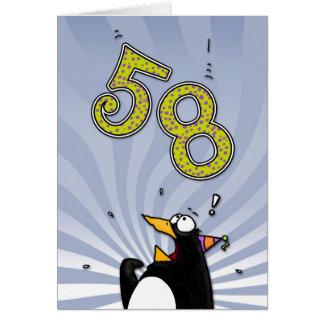 第58誕生日-ペンギンの驚きカード カード