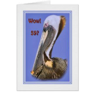 第59ブラウンのペリカンの鳥が付いているバースデー・カード カード