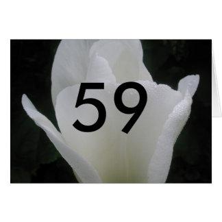 第59誕生日の白いチューリップの年齢の誕生日の挨拶 カード
