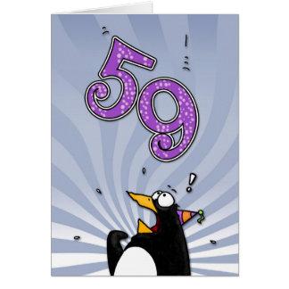 第59誕生日-ペンギンの驚きカード カード