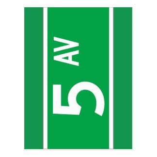 第5 Av. (古い)、ニューヨークの道路標識 ポストカード