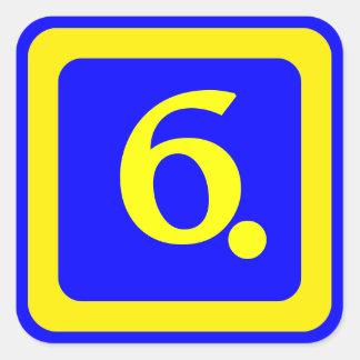第6の青い背景、黄色いフレーム スクエアシール