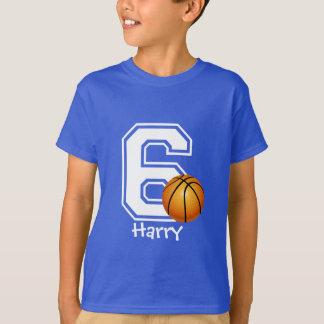 第6名前入りな2誕生日の男の子のサッカー Tシャツ