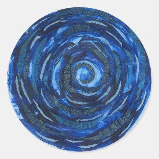 第6第3目のチャクラのインディゴの螺線形のアートワーク#2 ラウンドシール