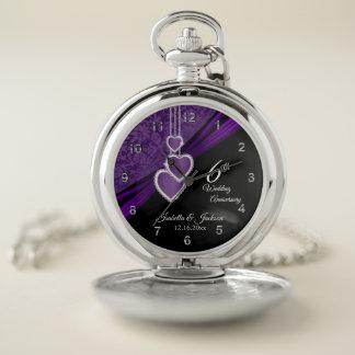 第6紫色の結婚記念日のデザイン ポケットウォッチ