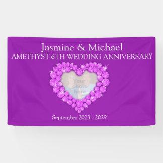 第6結婚記念日の紫色の紫色の旗 横断幕