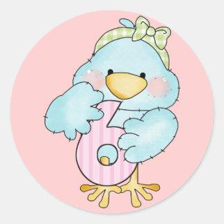 第6誕生日の女の子の鳥 ラウンドシール