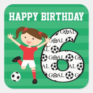 第6誕生日の赤と白のサッカーの女の子1 スクエアシール