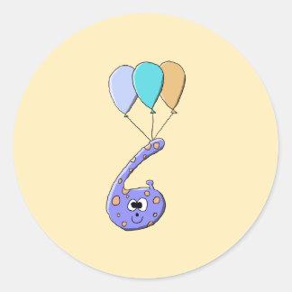 第6誕生日、紫色の誕生日モンスターの漫画 ラウンドシール
