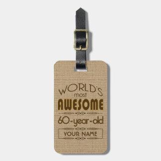 第60すばらしい誕生祝いの世界のベスト ラゲッジタグ