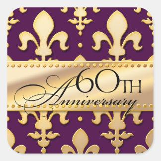第60のゴールド・トーンの結婚記念日、(紋章の)フラ・ダ・リ スクエアシール