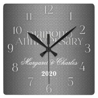 第60ダイヤモンド結婚式のAnnivsersaryのカスタム スクエア壁時計