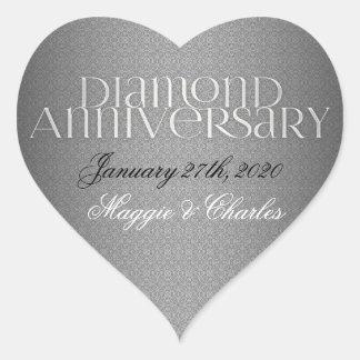 第60ダイヤモンド結婚式のAnnivsersaryのステッカー ハートシール