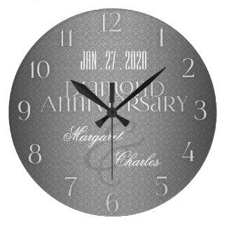 第60ダイヤモンド結婚式のAnnivsersary  のカスタムな時計 ラージ壁時計