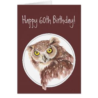 第60態度の鳥のユーモアのおもしろいな誕生日のフクロウ カード