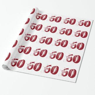 第60白の赤と白の文字の誕生日 ラッピングペーパー