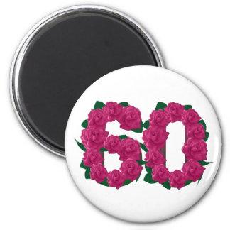 第60第60誕生日のローズピンク マグネット