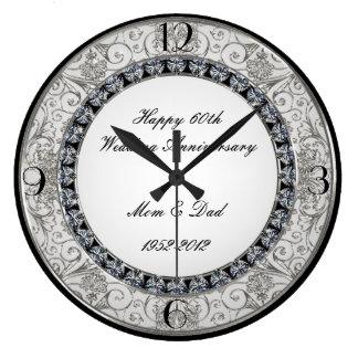 第60結婚記念日の時計 ラージ壁時計
