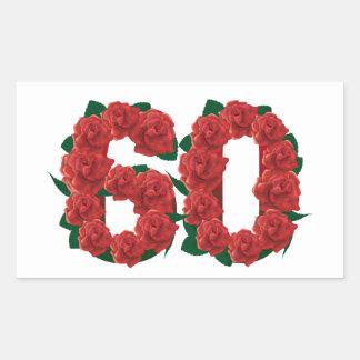 第60花柄 長方形シール・ステッカー