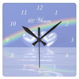 第60記念日のダイヤモンドのハート スクエア壁時計