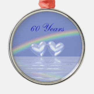 第60記念日のダイヤモンドのハート メタルオーナメント