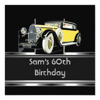 第60誕生会の黒のヴィンテージ車は人を配置します カード