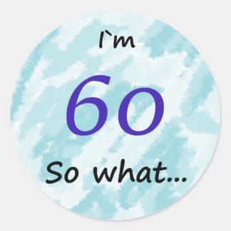 第60誕生日おもしろいなIの` m 60そう何 丸型シール