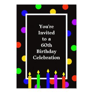 第60誕生日のパーティの招待状のカラフルの蝋燭 カード
