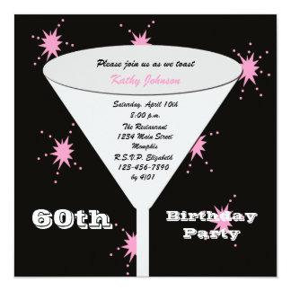 第60誕生日のパーティの招待状のピンク第60のトースト カード