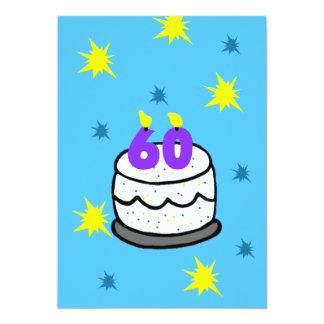 第60誕生日のパーティの招待状60本の蝋燭のケーキ カード
