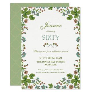 第60誕生日の招待状-ヴィンテージの花柄第60 カード
