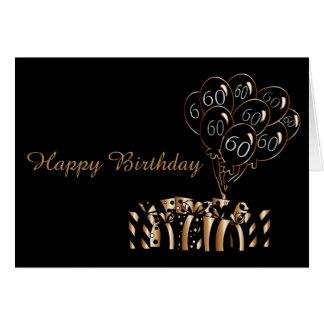 第60黒は誕生日| Diyの単語を風船のようにふくらませます カード