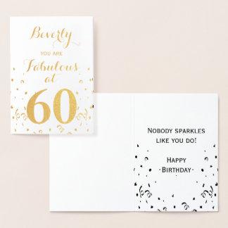 第60 60ですばらしい誕生日の金ゴールドホイル 箔カード