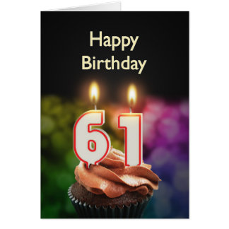 第61ケーキおよび蝋燭との誕生日 カード
