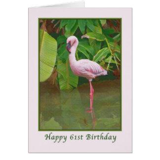 第61ピンクのフラミンゴが付いているバースデー・カード カード