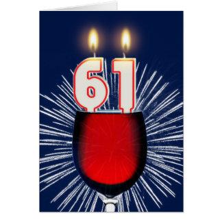 第61ワインおよび蝋燭との誕生日 カード