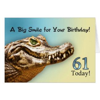 第61微笑のわにが付いているバースデー・カード カード