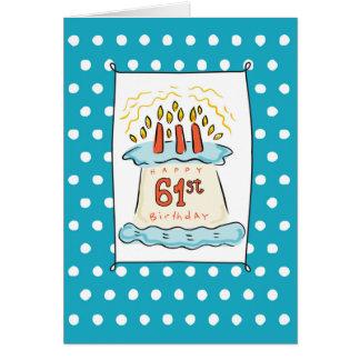 第61点が付いている青いティール(緑がかった色)のお誕生日ケーキ カード