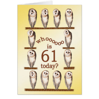 第61誕生日、好奇心が強いフクロウカード カード