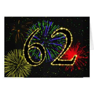 第62花火が付いているバースデー・カード カード