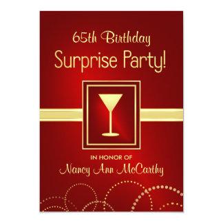 第65誕生日の驚きのパーティの招待状 カード